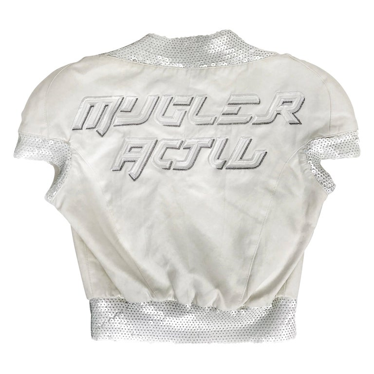 1990's Thierry Mugler Activ top Space Age Sequins Small For Sale