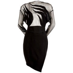 1990's THIERRY MUGLER black dress with sheer bodice