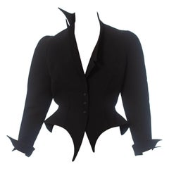 1990S Thierry Mugler Black Wool Witchy Wasp Waist Jacket With Asymmetrical Lape