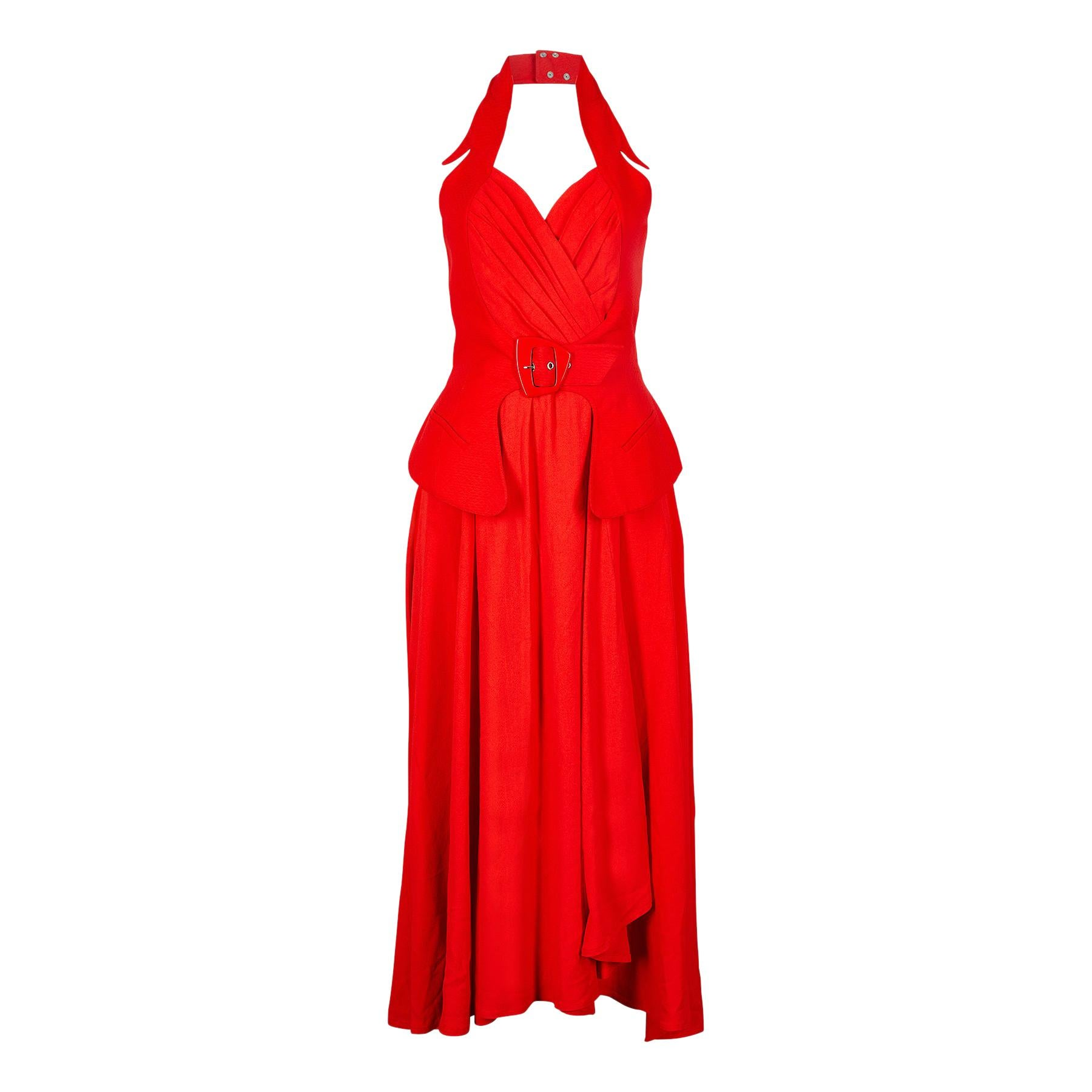 1990s Thierry Mugler Couture Halter Neck Red Dress
