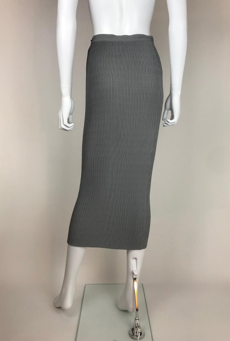 Gray 1990's Thierry Mugler Plissée Skirt Small For Sale