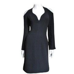 1990s Thierry Mugler Plunge Cold Shoulder Dress