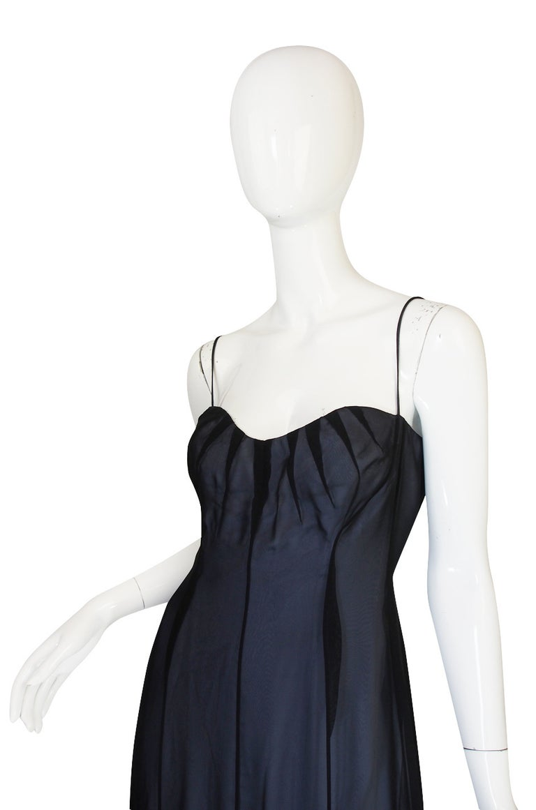 Black 1990s Thierry Mugler Sheer Silk Chiffon Dress For Sale