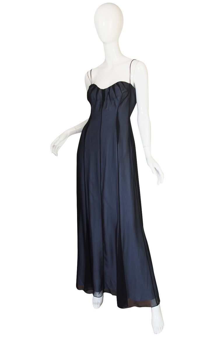 1990s Thierry Mugler Sheer Silk Chiffon Dress In Excellent Condition For Sale In Rockwood, ON
