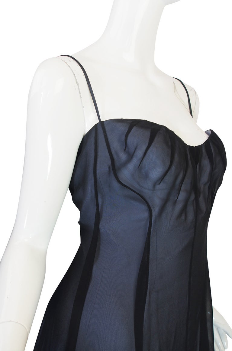 1990s Thierry Mugler Sheer Silk Chiffon Dress For Sale 2