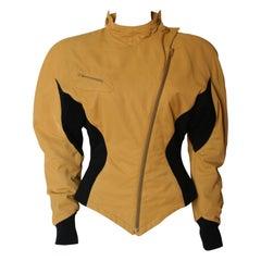 1980's Thierry Mugler Space Age Bold Shoulder Jacket S/M Kill Bill Spirit Yellow