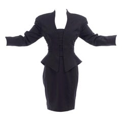 1990s Thierry Mugler Vintage Black Peplum Band Leader Jacket & Pencil Skirt Suit