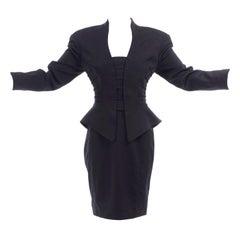 Mugler Olive Khaki Green Wool Blend Straight Skirt 1990s UK 8  US 4