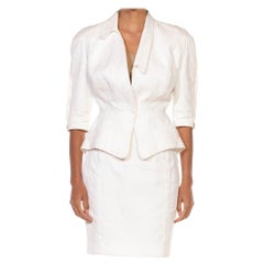 1990S THIERRY MUGLER White Cotton Floral Jacquard Skirt Suit With Matching Belt