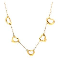 1990s Tiffany & Co. Elsa Peretti Open Heart Necklace in 18 Karat Yellow Gold