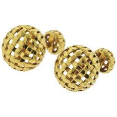 1990s Tiffany & Co. Gold Woven Cufflinks