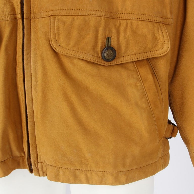 Men's 1990s Timberland Brown Vintage Leather Jacket For Sale