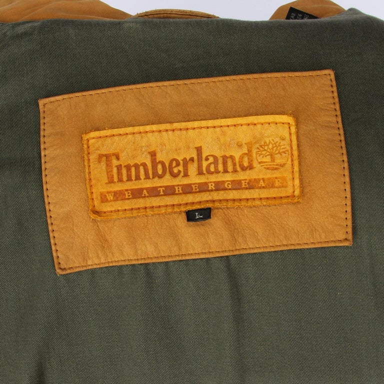 1990s Timberland Brown Vintage Leather Jacket For Sale 2