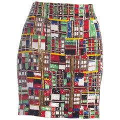 1990S Todd Oldham Beaded Silk Mondrian Geometric Plaid Mini Skirt