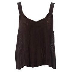 1990S Tom Ford For Yves Saint Laurent Chocolate Brown Knit Semi Sheer Pleated C