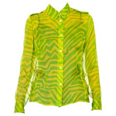 1990s Tom Ford Gucci Lime Green Silk Chiffon Shirt From His First Collection For