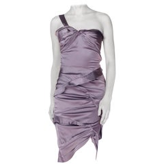 2000S GUCCI Lilac Grey Silk & Lycra Charmeuse Twisted Draped Cocktail Dress