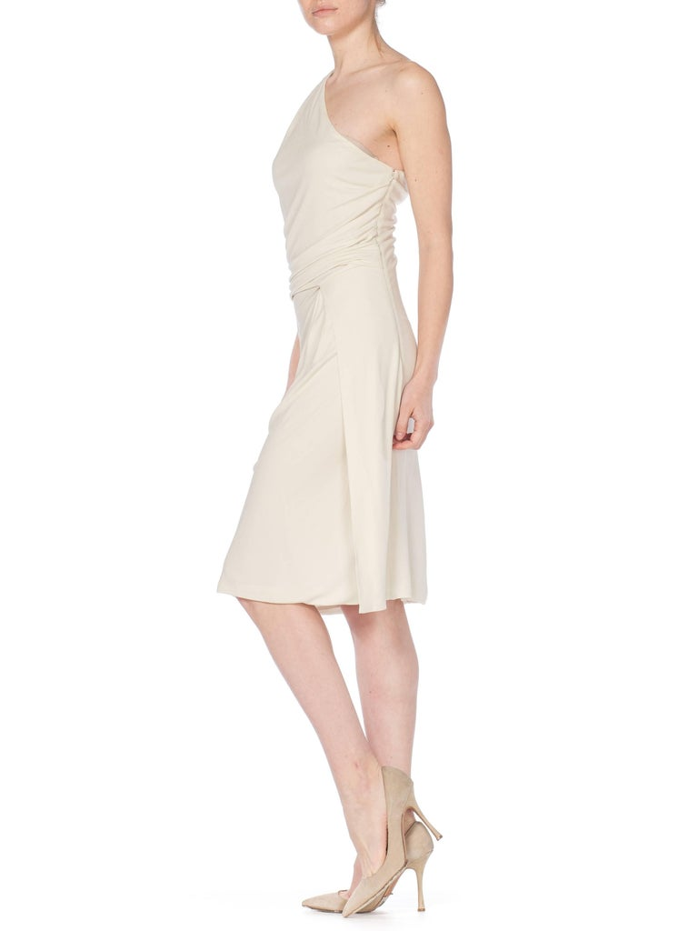 Tom Ford Gucci Slinky White Jersey Dress with Gold Bit Detail and Slit, 1990s  For Sale 5
