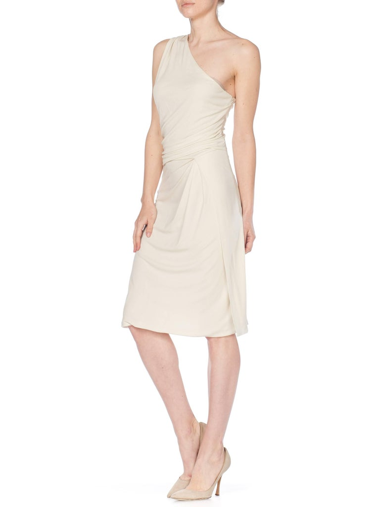 Tom Ford Gucci Slinky White Jersey Dress with Gold Bit Detail and Slit, 1990s  For Sale 6
