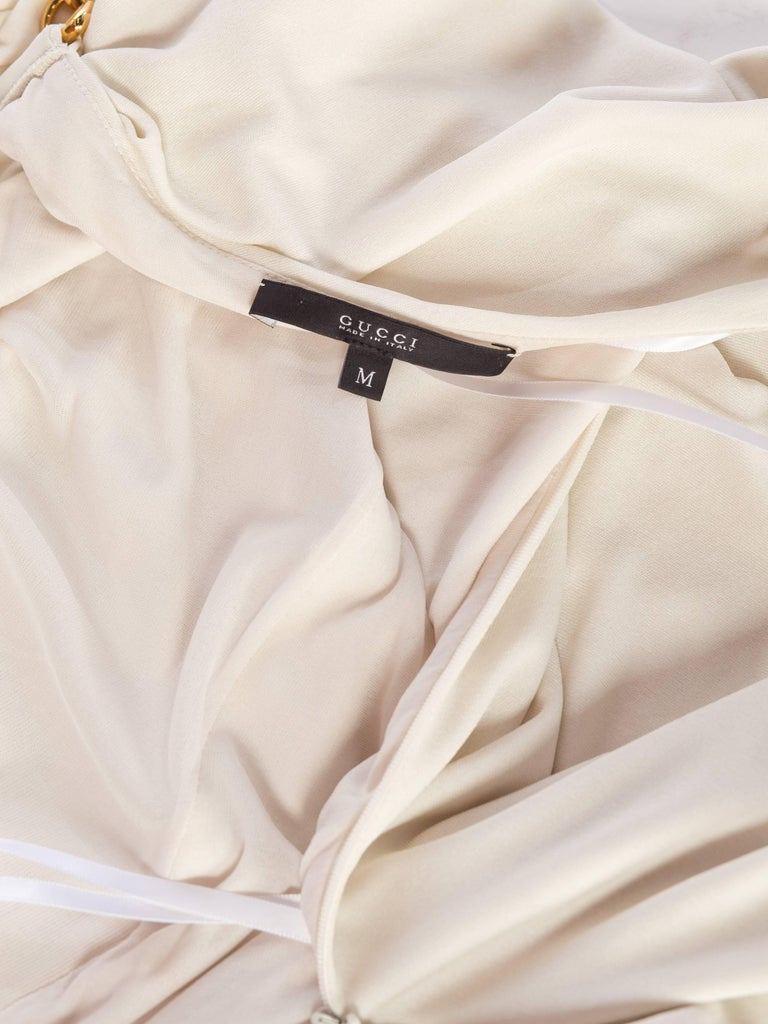 Tom Ford Gucci Slinky White Jersey Dress with Gold Bit Detail and Slit, 1990s  For Sale 9