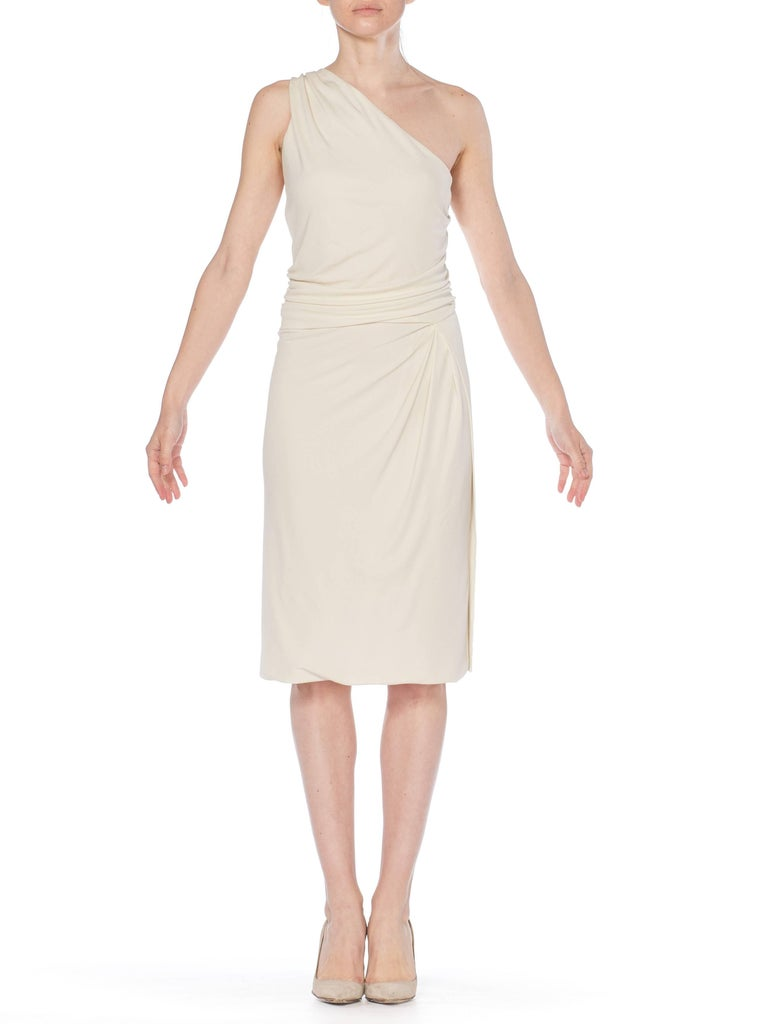 Tom Ford Gucci Slinky White Jersey Dress with Gold Bit Detail and Slit, 1990s  For Sale 10