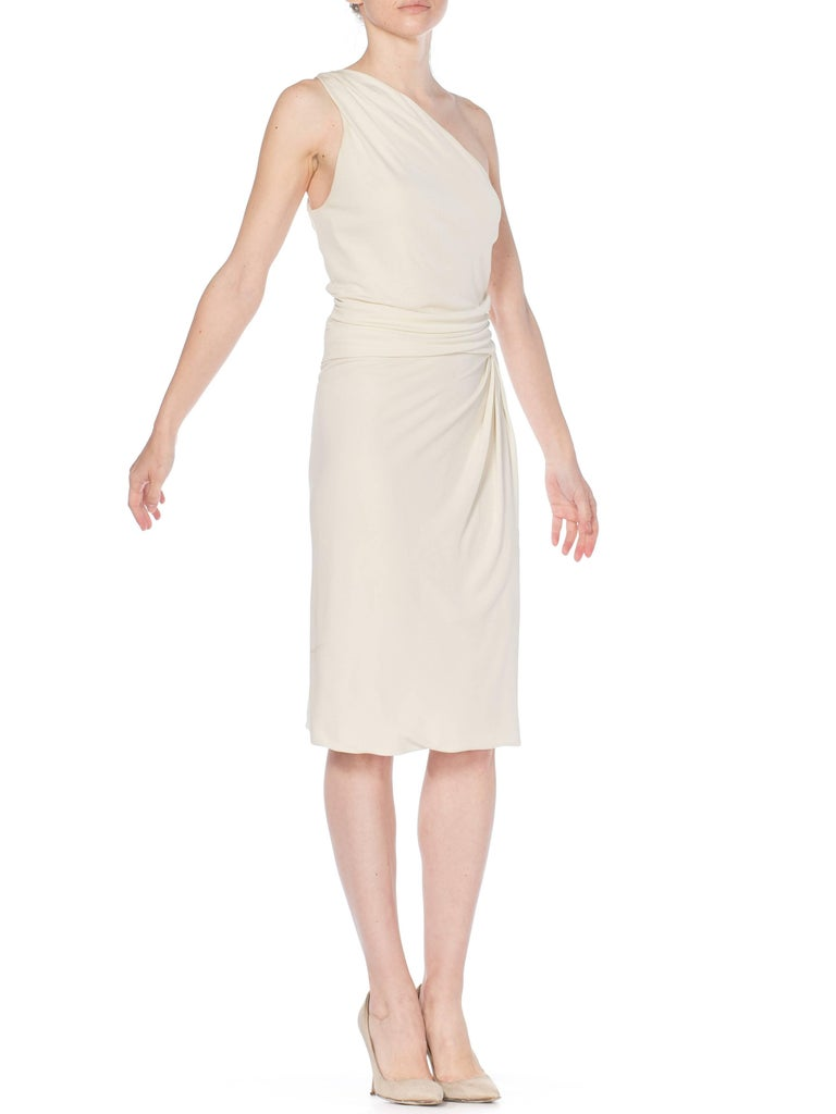 Beige Tom Ford Gucci Slinky White Jersey Dress with Gold Bit Detail and Slit, 1990s  For Sale