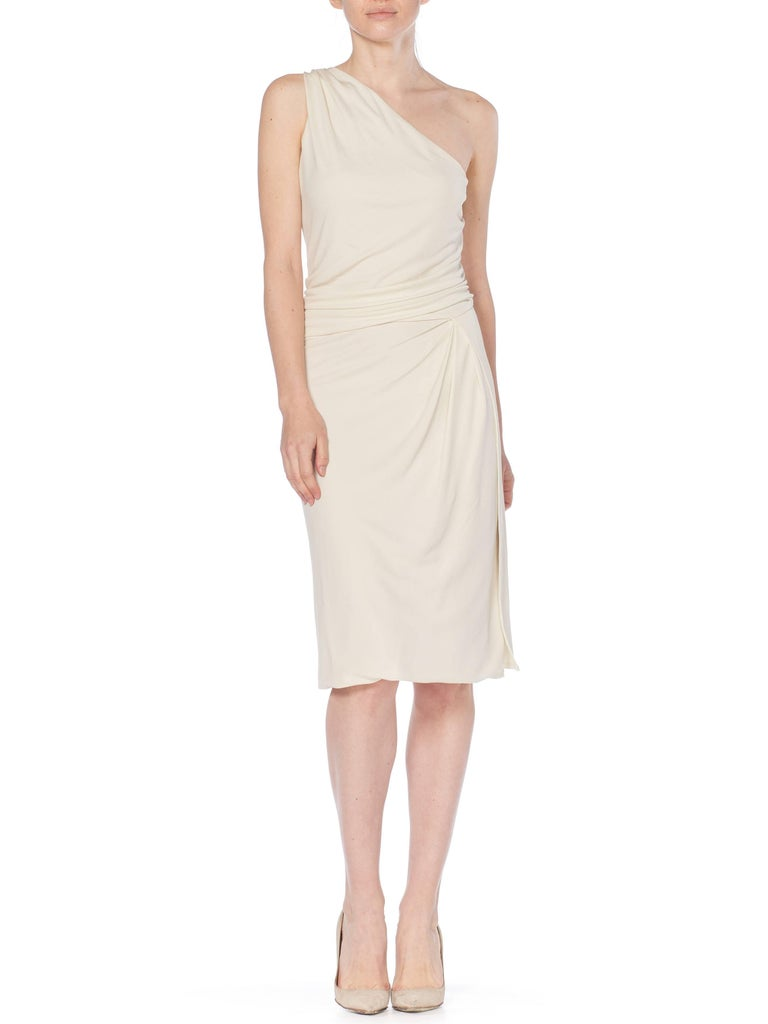 Tom Ford Gucci Slinky White Jersey Dress with Gold Bit Detail and Slit, 1990s  In Excellent Condition For Sale In New York, NY