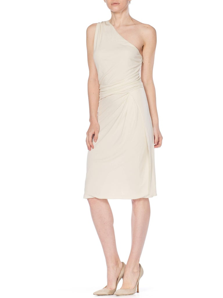 Women's Tom Ford Gucci Slinky White Jersey Dress with Gold Bit Detail and Slit, 1990s  For Sale
