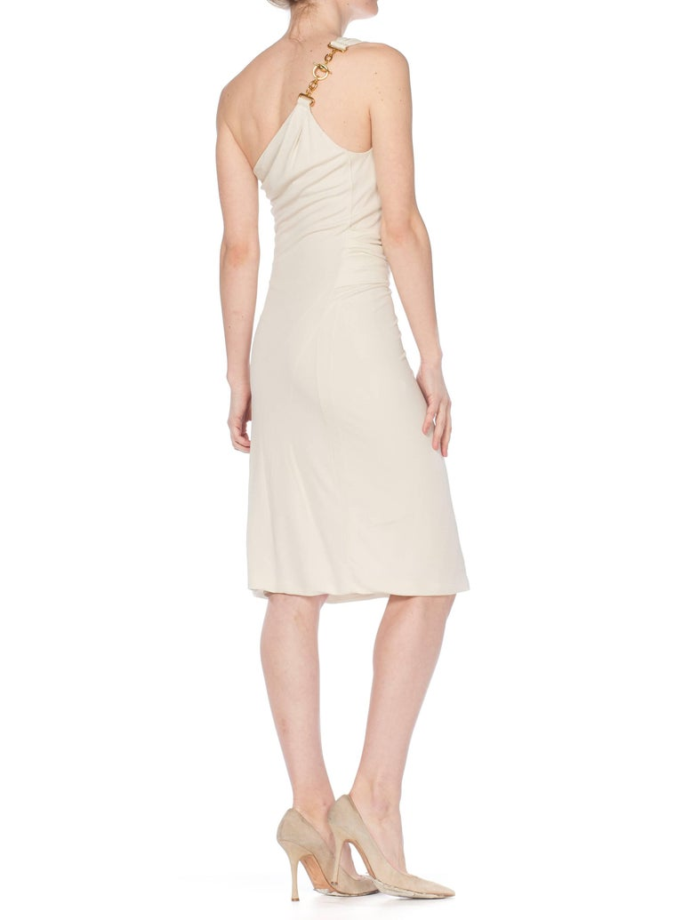 Tom Ford Gucci Slinky White Jersey Dress with Gold Bit Detail and Slit, 1990s  For Sale 2