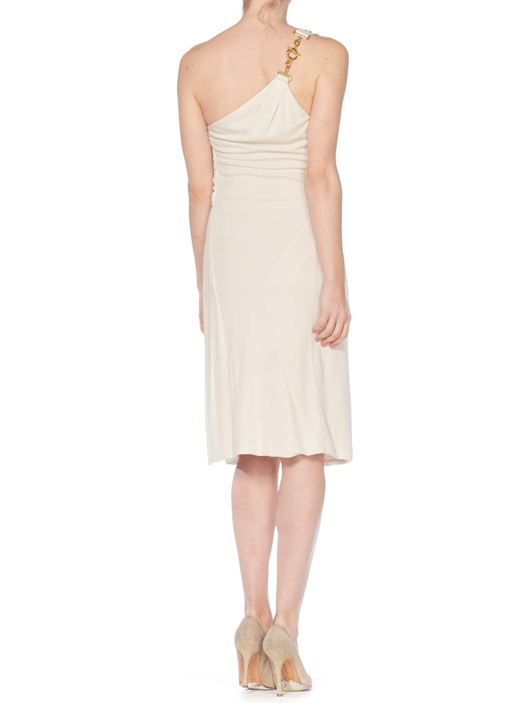 Tom Ford Gucci Slinky White Jersey Dress with Gold Bit Detail and Slit, 1990s  For Sale 3