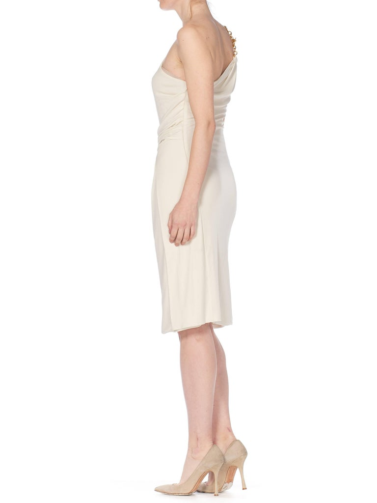 Tom Ford Gucci Slinky White Jersey Dress with Gold Bit Detail and Slit, 1990s  For Sale 4