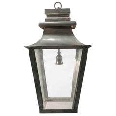 1990s Traditional Hanging Entry Porch Lantern Done in Brass with a Nickel Finish