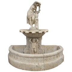 1990s Travertine Marble Wall Fountain with Boy Holding Tier Topped by Woman