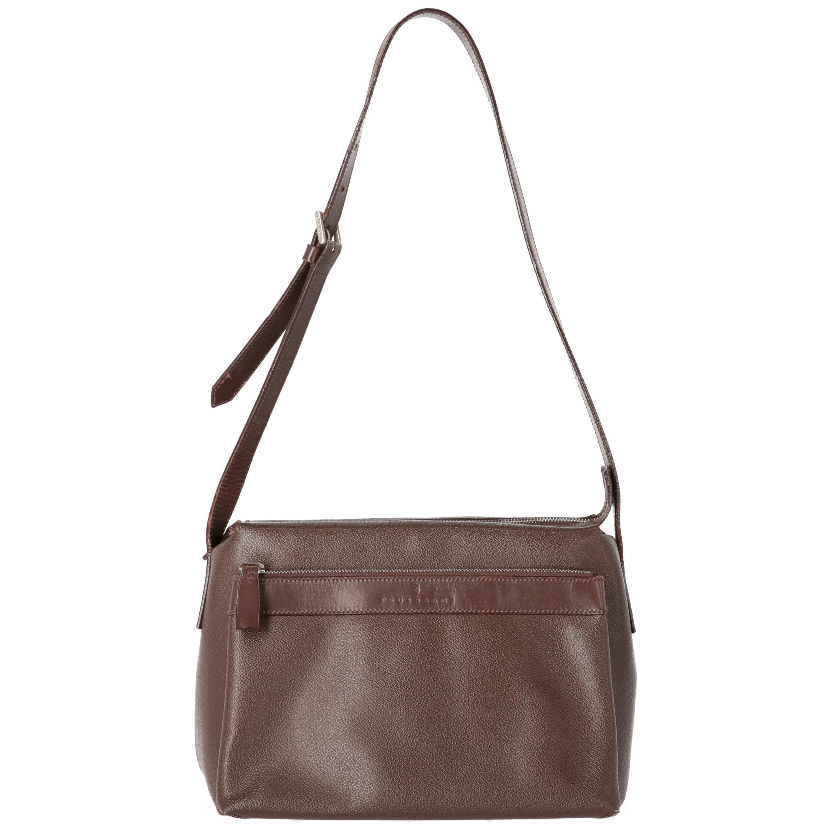 1990s Trussardi Brown Laeather Shoulder Bag