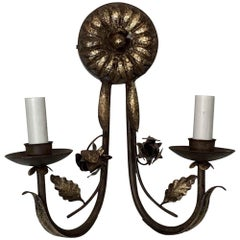1990s Two-Arm Wrought Iron Florentine Gilded Wall Sunflower Sconce