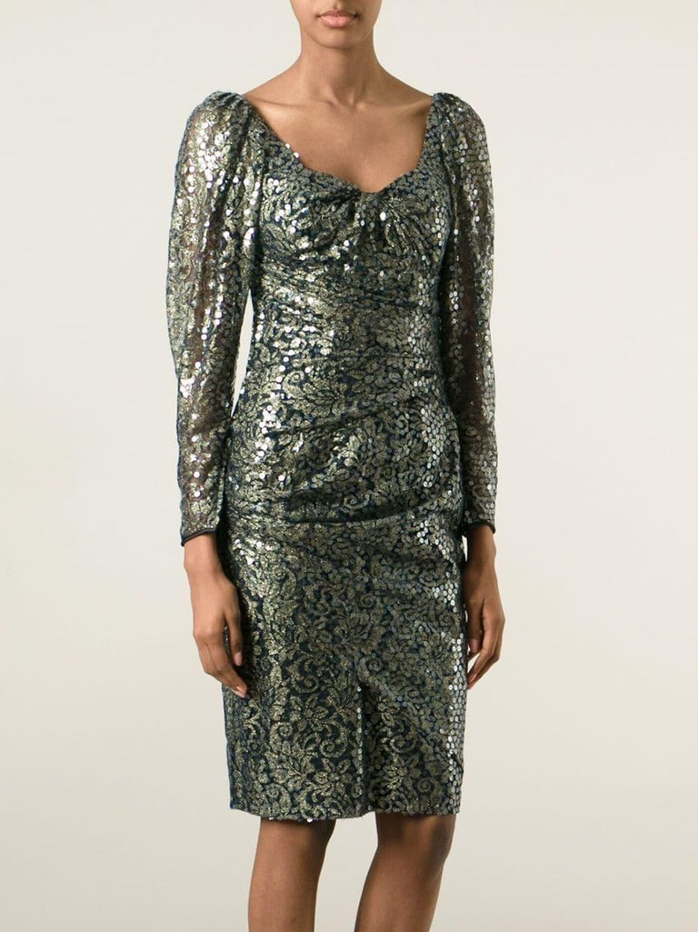1990s Ungaro Black And Gold Lace Dress In Good Condition For Sale In Lugo (RA), IT
