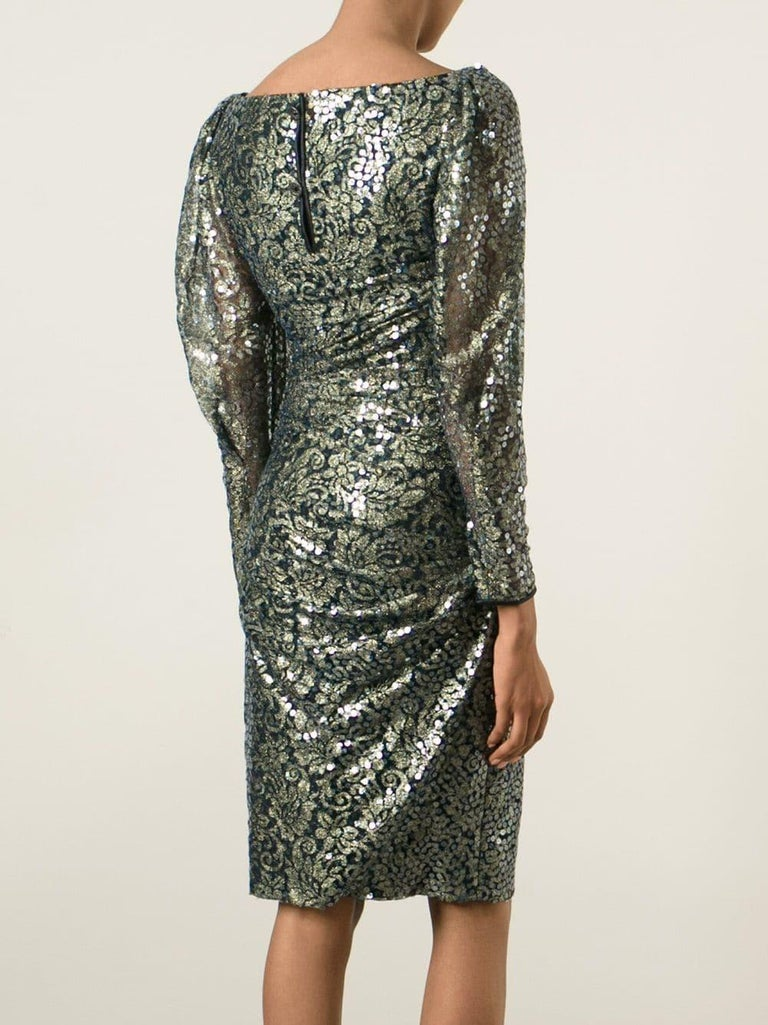 Women's 1990s Ungaro Black And Gold Lace Dress For Sale
