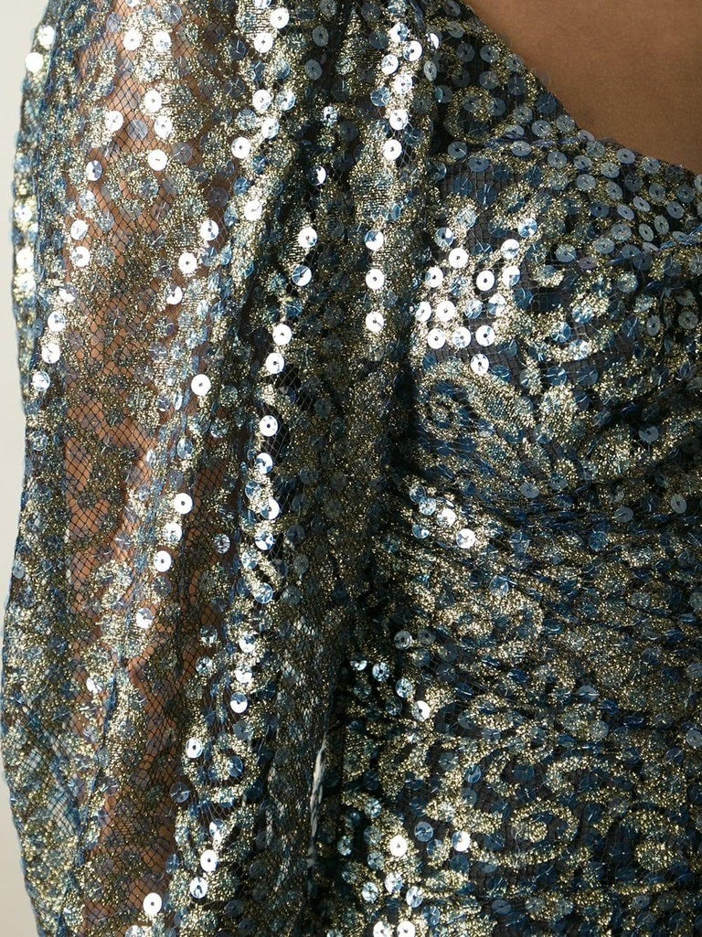 1990s Ungaro Black And Gold Lace Dress For Sale 1