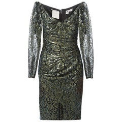 1990s Ungaro Black And Gold Lace Dress