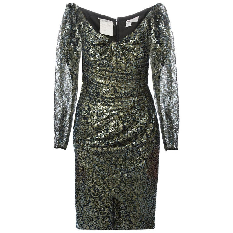 1990s Ungaro Black And Gold Lace Dress For Sale