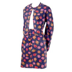 1990s Ungaro Vintage Skirt & Jacket Suit in Blue Denim W Pink Red & Orange Roses