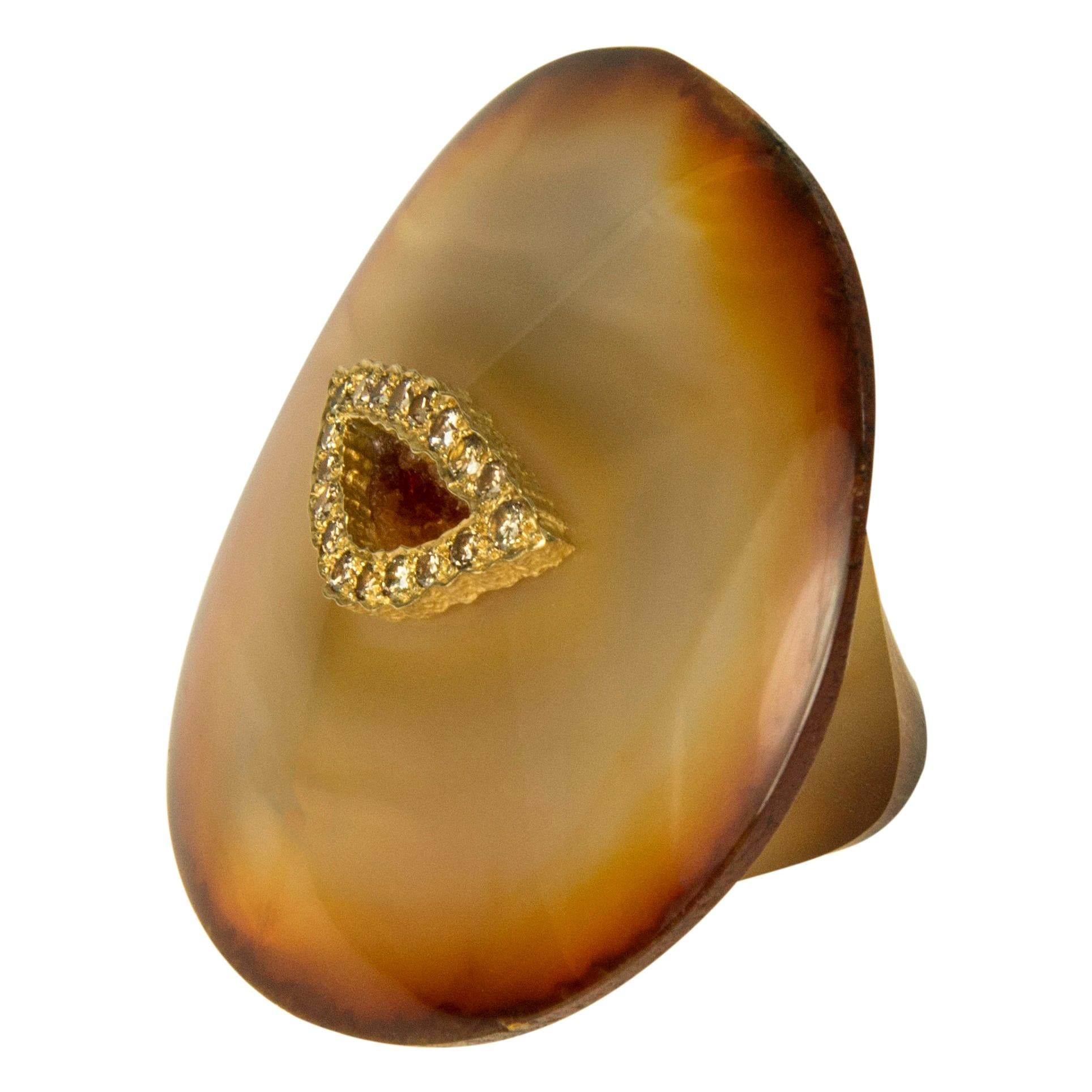 1990s Unique Andrew Grima Carved Agate, Diamond, and Gold Ring