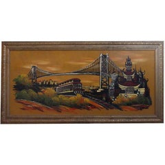 1990s Unique Golden Gate Bridge Painting by Ashbrook Studios in San Francisco