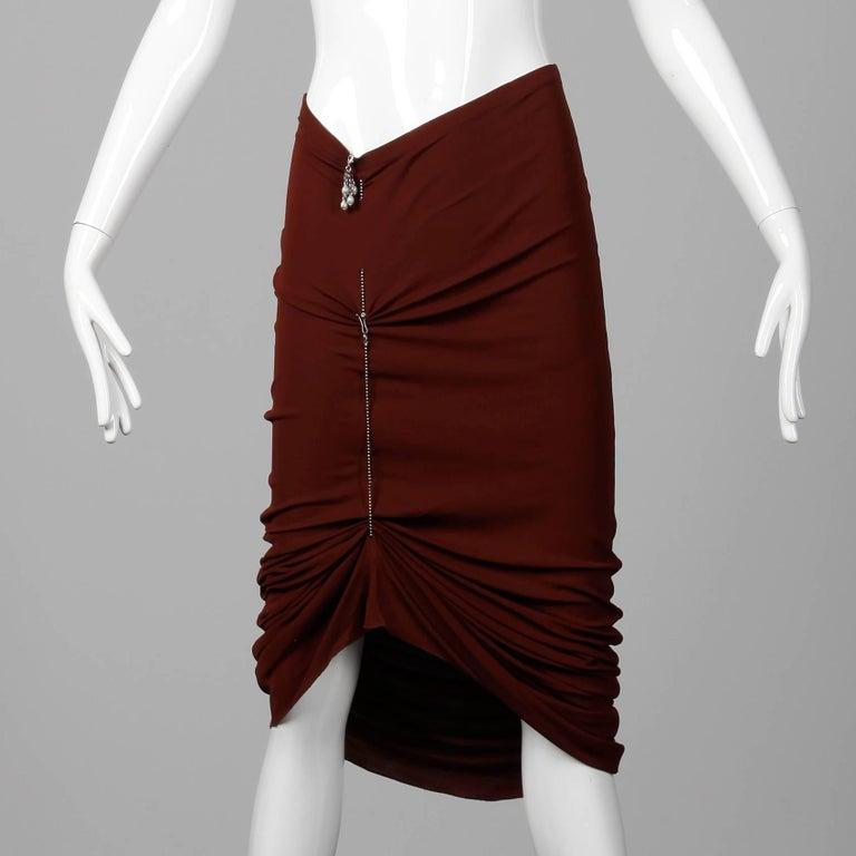 Black 1990s Unworn with Tags Jean Paul Gaultier Femme Vintage Brown Avant Garde Skirt For Sale