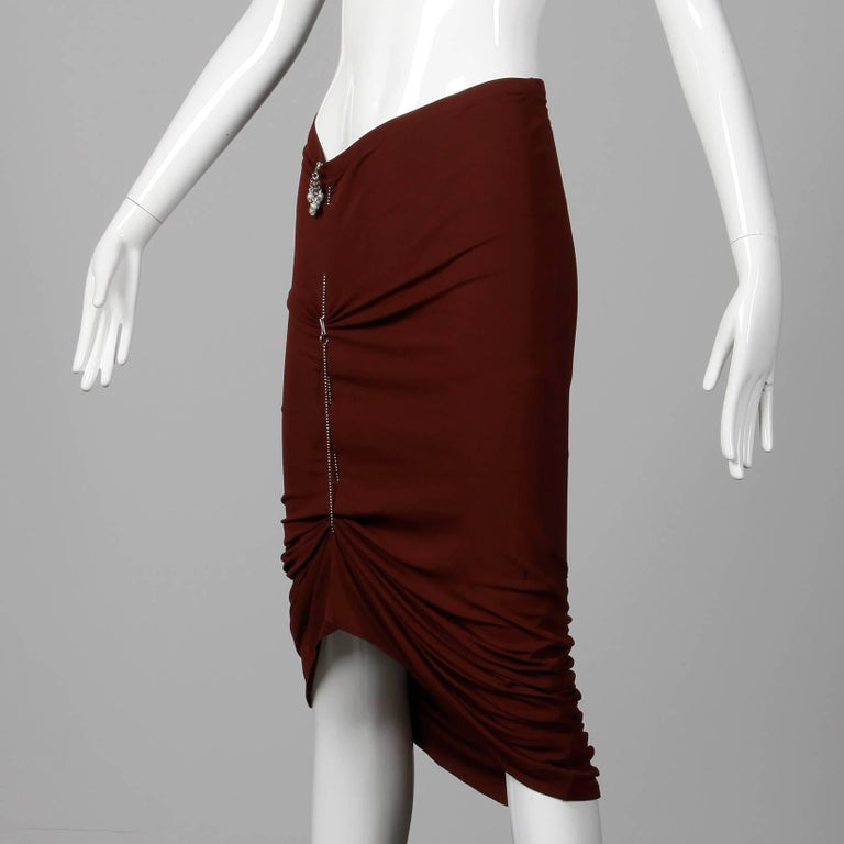1990s Unworn with Tags Jean Paul Gaultier Femme Vintage Brown Avant Garde Skirt In New Condition For Sale In Sparks, NV