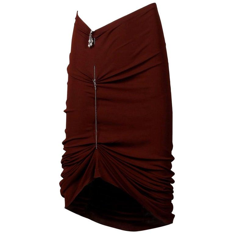 1990s Unworn with Tags Jean Paul Gaultier Femme Vintage Brown Avant Garde Skirt For Sale
