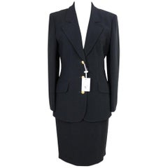 1990s Valentino Black Viscose Classic Formal Tailleur Suit Skirt
