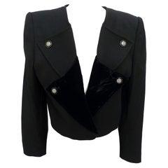 1990s Valentino Black Wool Velvet Stones Short Bolero Jacket