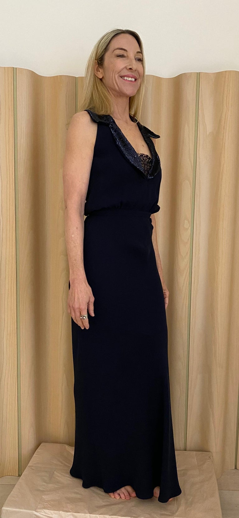 1990s Valentino Blue Crepe Gown  In Good Condition For Sale In Beverly Hills, CA
