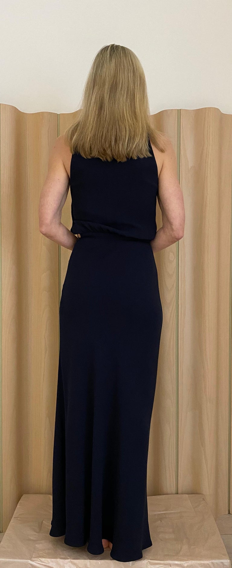Women's 1990s Valentino Blue Crepe Gown  For Sale